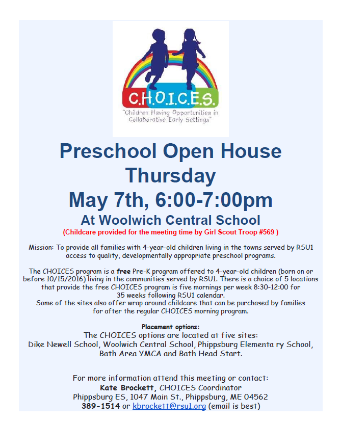 Upcoming CHOICES (Pre-K) Open House for 2020-2021 School Year