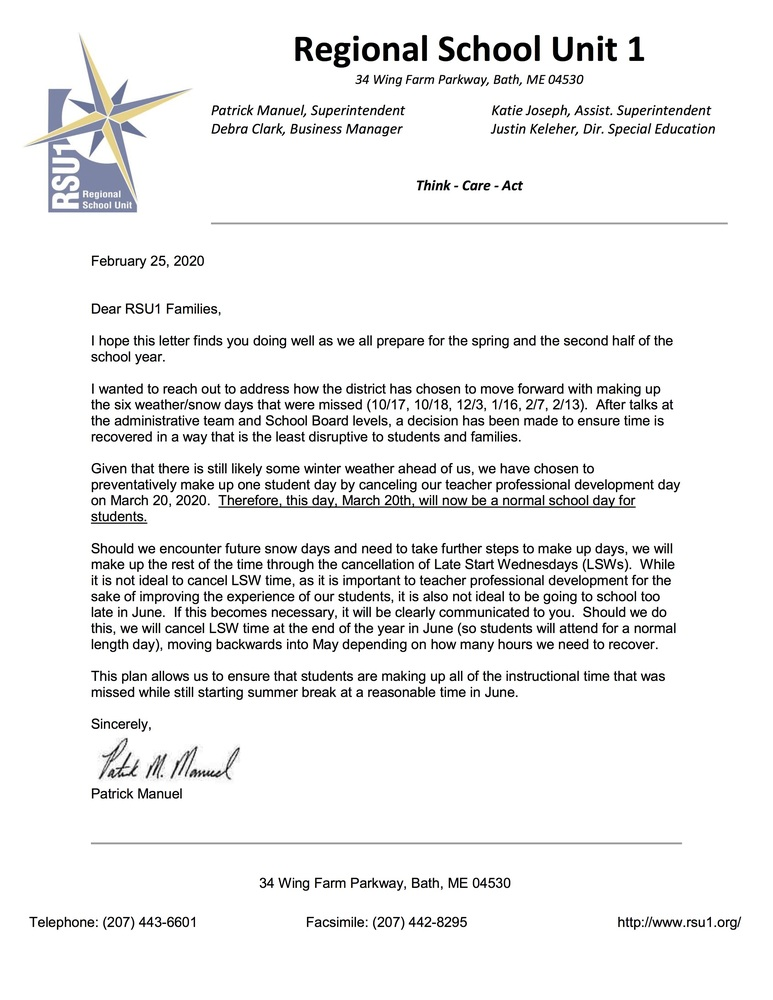 Letter regarding March 20th, 2020 change in school day