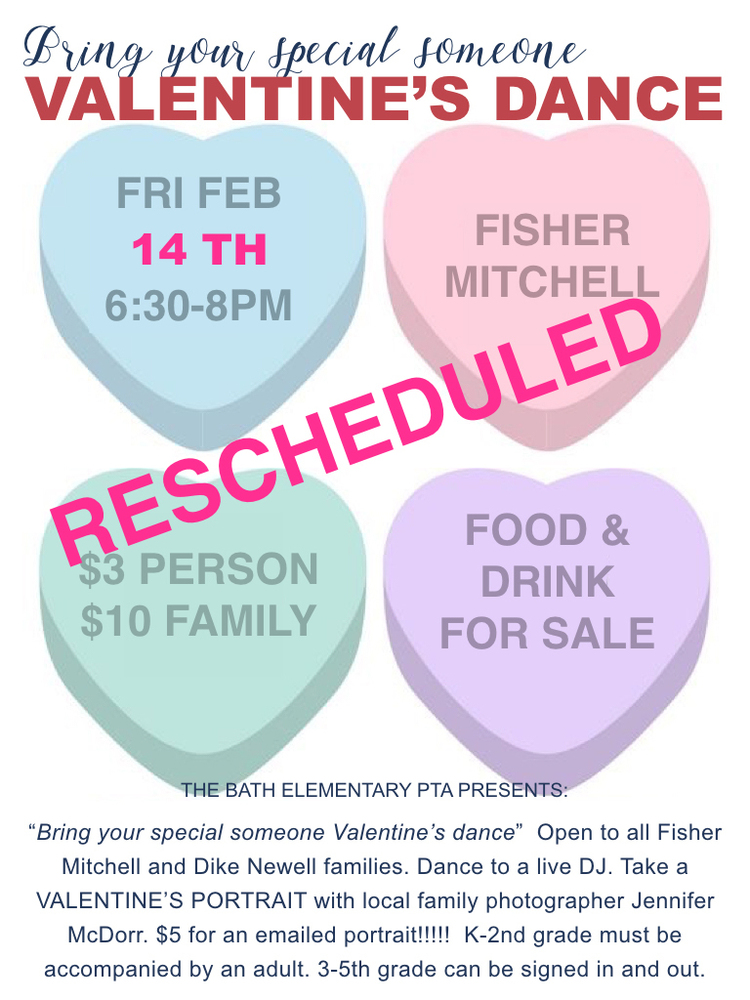 RESCHEDULED VALENTINE'S DANCE