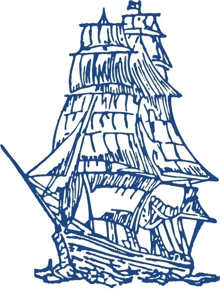 A blue outlined old fashioned clipper ship on a white background