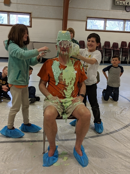 Principal getting slimed