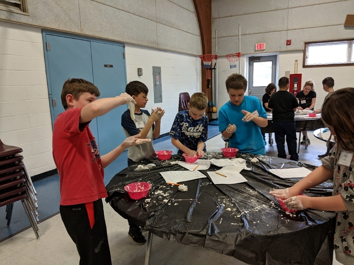 Students making slime