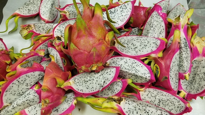 dragon fruit whole and cut into wedges