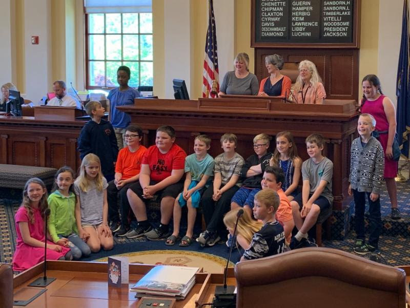 Rep. Allison Hepler, D-Woolwich, and I talked with Ms. Brann's 4th grade class from Phippsburg Elementary School on June 7. We had a fun time banging the gavel and talking about how issues they care about become laws!