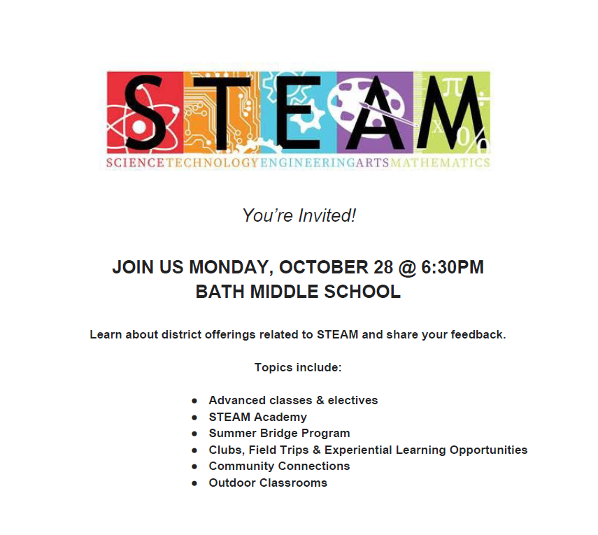 Invitation to attend STEAM related RSU1 Board Meeting, October 28, 2019 at 6:30pm at Bath Middle School