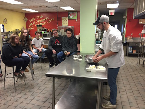 Ben Carter shares his skills with our Culinary Arts students.