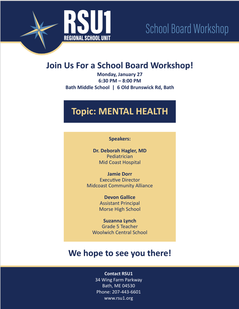 RSU1 Board Workshop Flyer